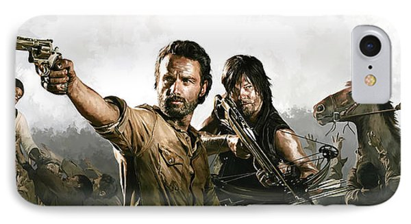 IPhone Case featuring the painting The Walking Dead Artwork 1 by Sheraz A