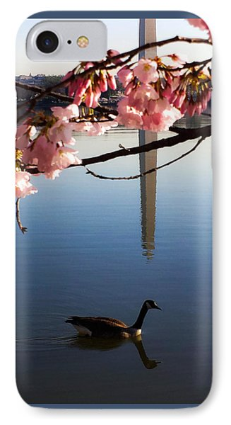 The Washington Monument Through The Cherry Blossoms IPhone Case by Debra Bowers