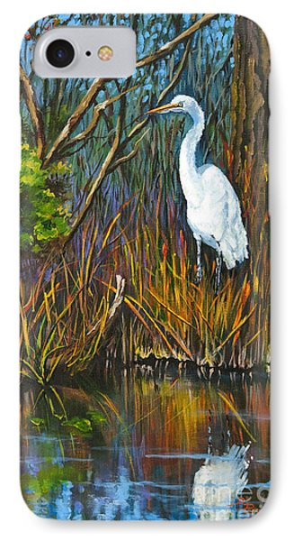 IPhone Case featuring the painting The White Heron by Dianne Parks