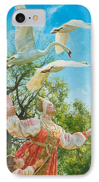 The White Swan IPhone Case by Victoria Kharchenko