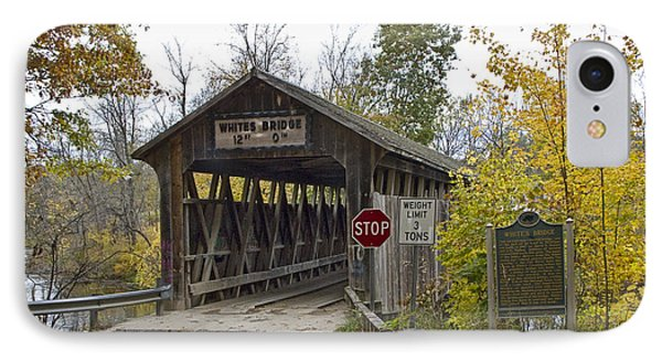 The Whites Covered Bridge Was One Of The Last Of Its Kind In Michigan IPhone Case by Randall Nyhof