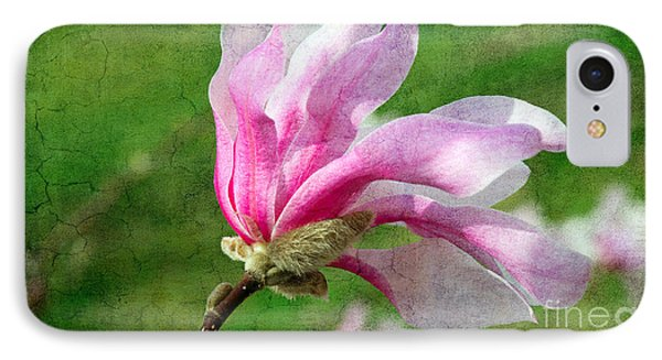 The Windblown Pink Magnolia - Flora - Tree - Spring - Garden IPhone Case by Andee Design