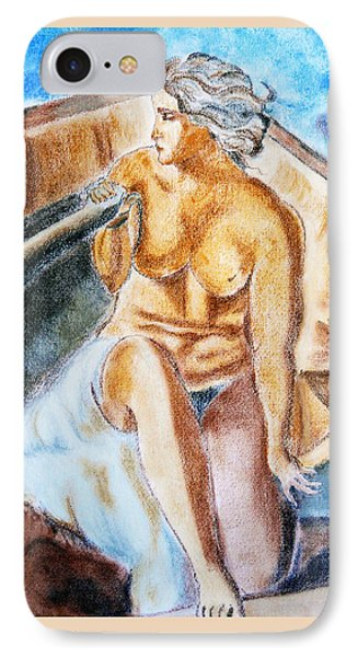 IPhone Case featuring the painting The Woman Rower by Jasna Dragun