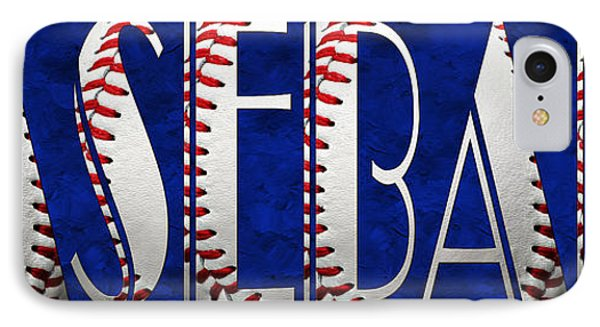 The Word Is Baseball On Blue Phone Case by Andee Design