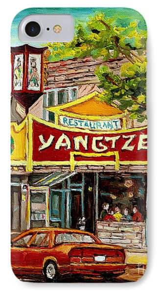 The Yangtze Restaurant On Van Horne Avenue Montreal  IPhone Case by Carole Spandau