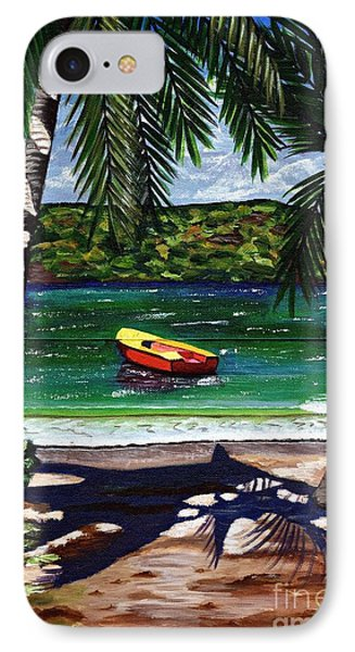 IPhone Case featuring the painting The Yellow And Red Boat by Laura Forde