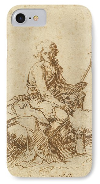 The Youthful Saint John The Baptist Seated In A Landscape IPhone Case by Litz Collection
