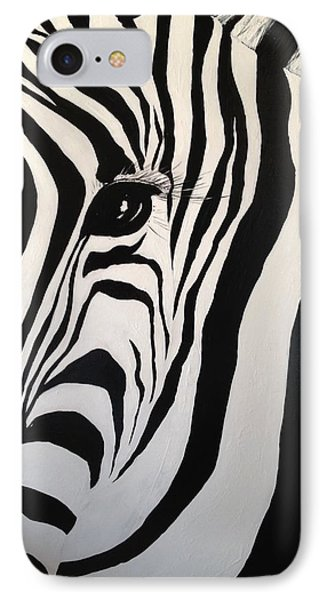 IPhone Case featuring the painting The Zebra With One Eye by Alan Lakin