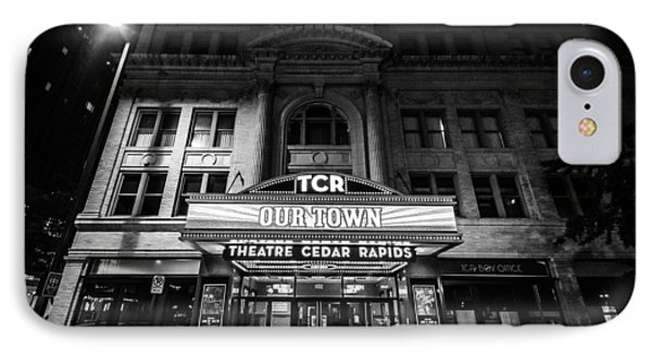 Theatre Cedar Rapids At Night In Black And White IPhone Case