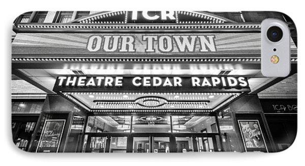 Theatre Cedar Rapids In Black And White IPhone Case
