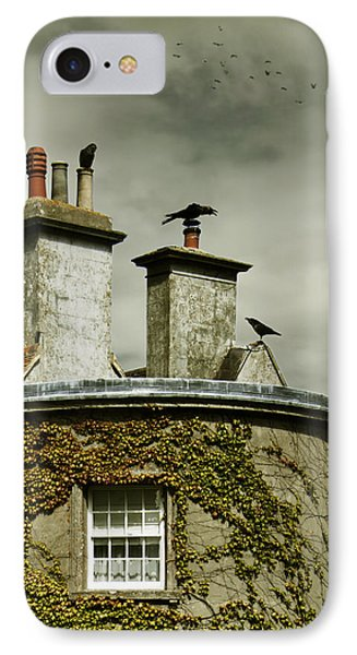 IPhone Case featuring the photograph Thee Crows On Chimney's by Ethiriel  Photography