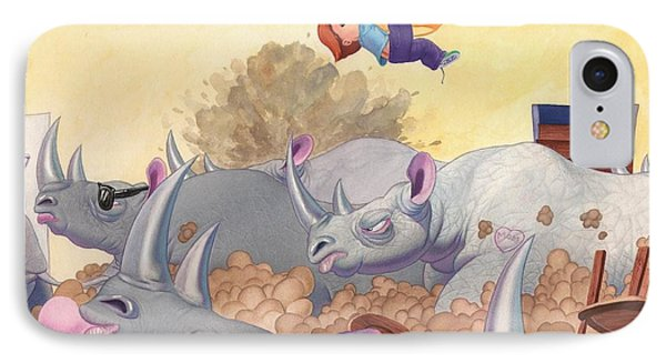 Then Came The Rhinos IPhone Case by Richard Moore