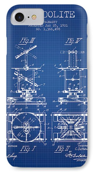 Theodolite Patent From 1921- Blueprint IPhone Case by Aged Pixel