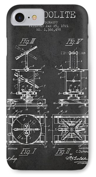 Theodolite Patent From 1921- Charcoal IPhone Case by Aged Pixel