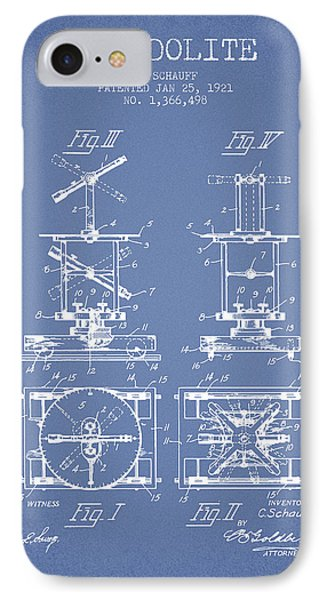 Theodolite Patent From 1921- Light Blue IPhone Case by Aged Pixel