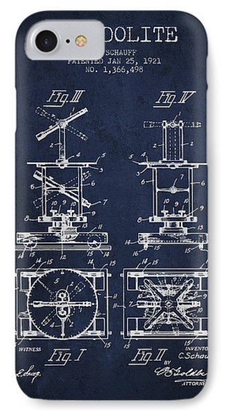 Theodolite Patent From 1921- Navy Blue IPhone Case by Aged Pixel