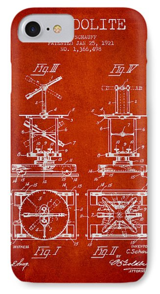 Theodolite Patent From 1921- Red IPhone Case by Aged Pixel