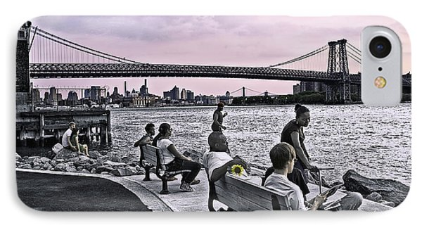 They Gathered At The Williamsburg Bridge - Brooklyn - New York IPhone Case by Madeline Ellis