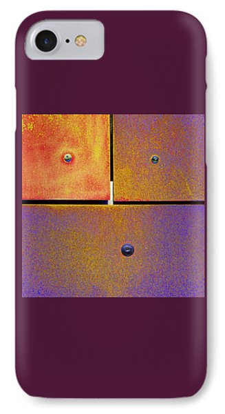 IPhone Case featuring the photograph Thirteen Fourteen Fifteen - Colorful Rust - Gold Purple by Menega Sabidussi