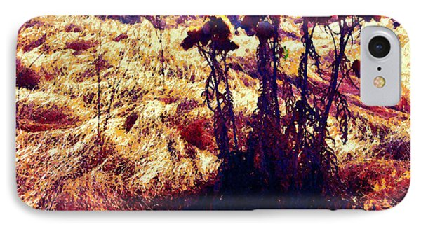 IPhone Case featuring the photograph Thistles In A Summer Field by Timothy Bulone
