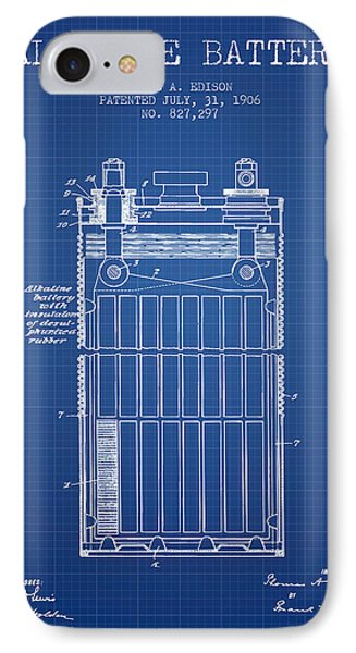 Thomas Edison Alkaline Battery From 1906 - Blueprint IPhone Case by Aged Pixel
