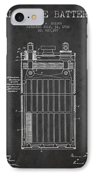 Thomas Edison Alkaline Battery From 1906 - Charcoal IPhone Case by Aged Pixel