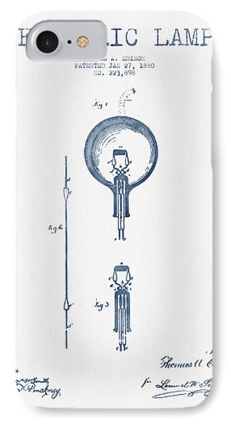 Thomas Edison Electric Lamp Patent From 1880 - Blue Ink IPhone Case by Aged Pixel