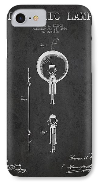 Thomas Edison Electric Lamp Patent From 1880 - Dark IPhone Case by Aged Pixel