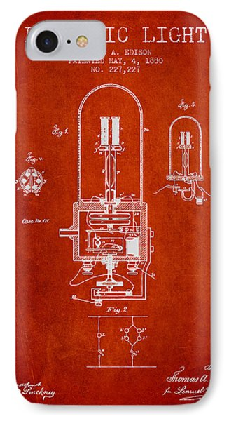 Thomas Edison Electric Light Patent From 1880 - Red IPhone Case by Aged Pixel