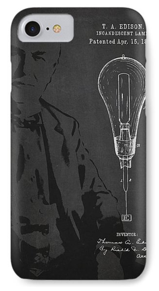 Thomas Edison Incandescent Lamp Patent Drawing From 1890 Phone Case by Aged Pixel