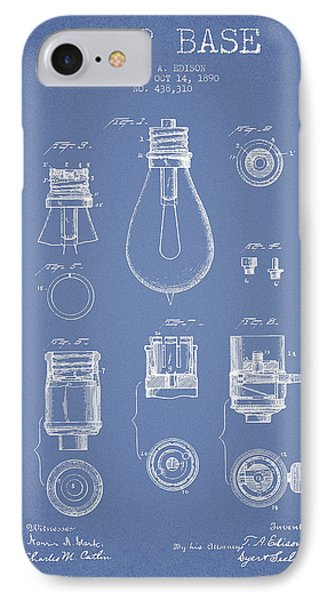 Thomas Edison Lamp Base Patent From 1890 - Light Blue IPhone Case by Aged Pixel