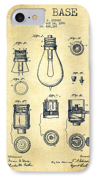 Thomas Edison Lamp Base Patent From 1890 - Vintage IPhone Case by Aged Pixel