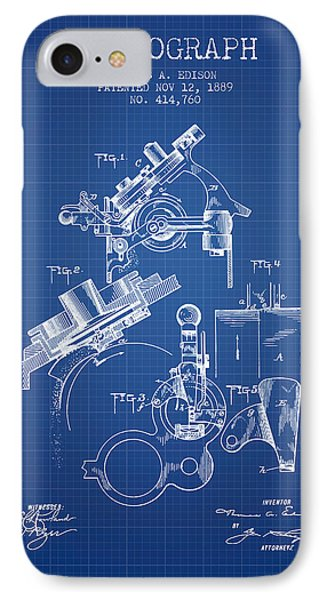 Thomas Edison Phonograph Patent From 1889 - Blueprint IPhone Case by Aged Pixel