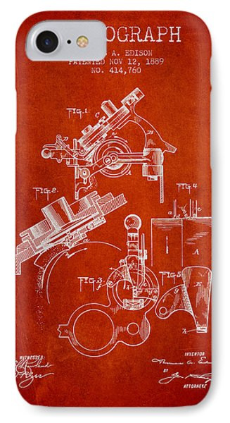 Thomas Edison Phonograph Patent From 1889 - Red IPhone Case by Aged Pixel