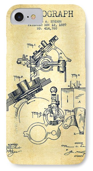 Thomas Edison Phonograph Patent From 1889 - Vintage IPhone Case by Aged Pixel