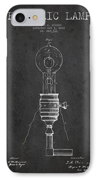 Thomas Edison Vintage Electric Lamp Patent From 1882 - Dark IPhone Case by Aged Pixel