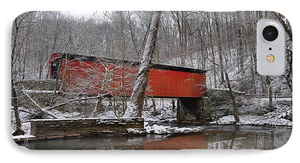 Thomas' Mill Covered Bridge In The Snow IPhone Case by Bill Cannon