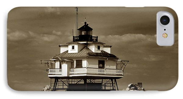 Thomas Point Shoal Lighthouse Sepia Phone Case by Skip Willits