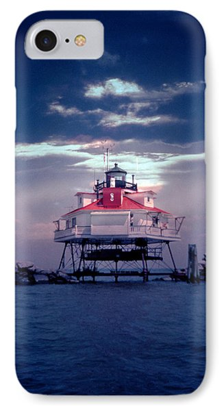 Thomas Point Shoal Lighthouse IPhone Case by Skip Willits