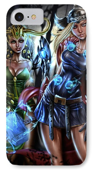 Thor And Loki IPhone Case by Pete Tapang
