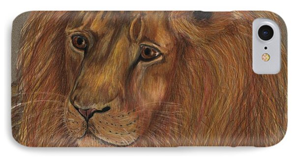 IPhone Case featuring the drawing Thoughtful Lion 2 by Stephanie Grant