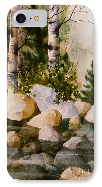 Three Birch By Rocky Stream IPhone Case by Teresa Ascone