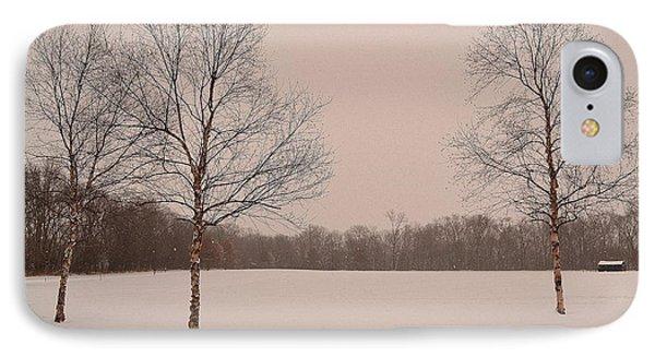 Three Birch Trees In Winter IPhone Case