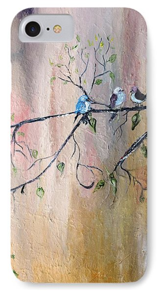 IPhone Case featuring the painting Three Birds by Evelina Popilian