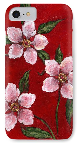 Three Blossoms On Red IPhone Case