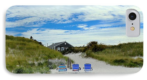 IPhone Case featuring the photograph Three Blue Beach Chairs by Amazing Jules