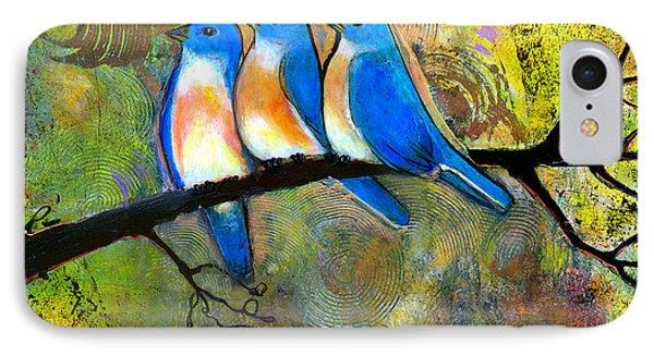 Bluebird iPhone 7 Case - Three Little Birds - Bluebirds by Blenda Studio