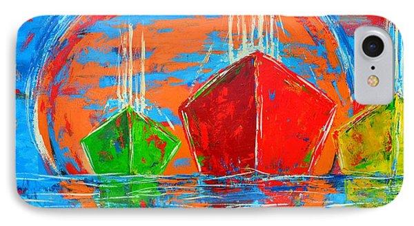 Three Boats Sailing In The Ocean Phone Case by Patricia Awapara