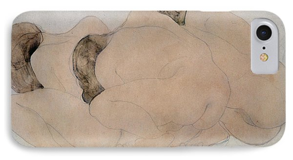Three Boulders Pencil & Wc On Paper IPhone Case by Auguste Rodin