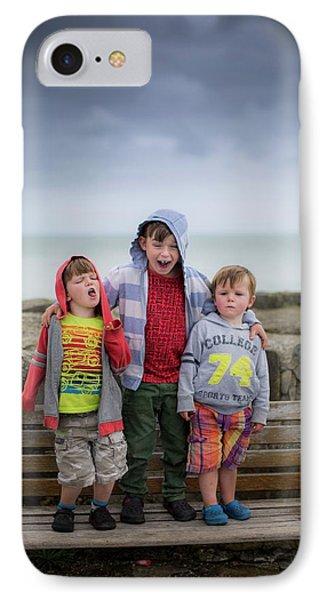 Three Boys On Bench IPhone Case by Samuel Ashfield